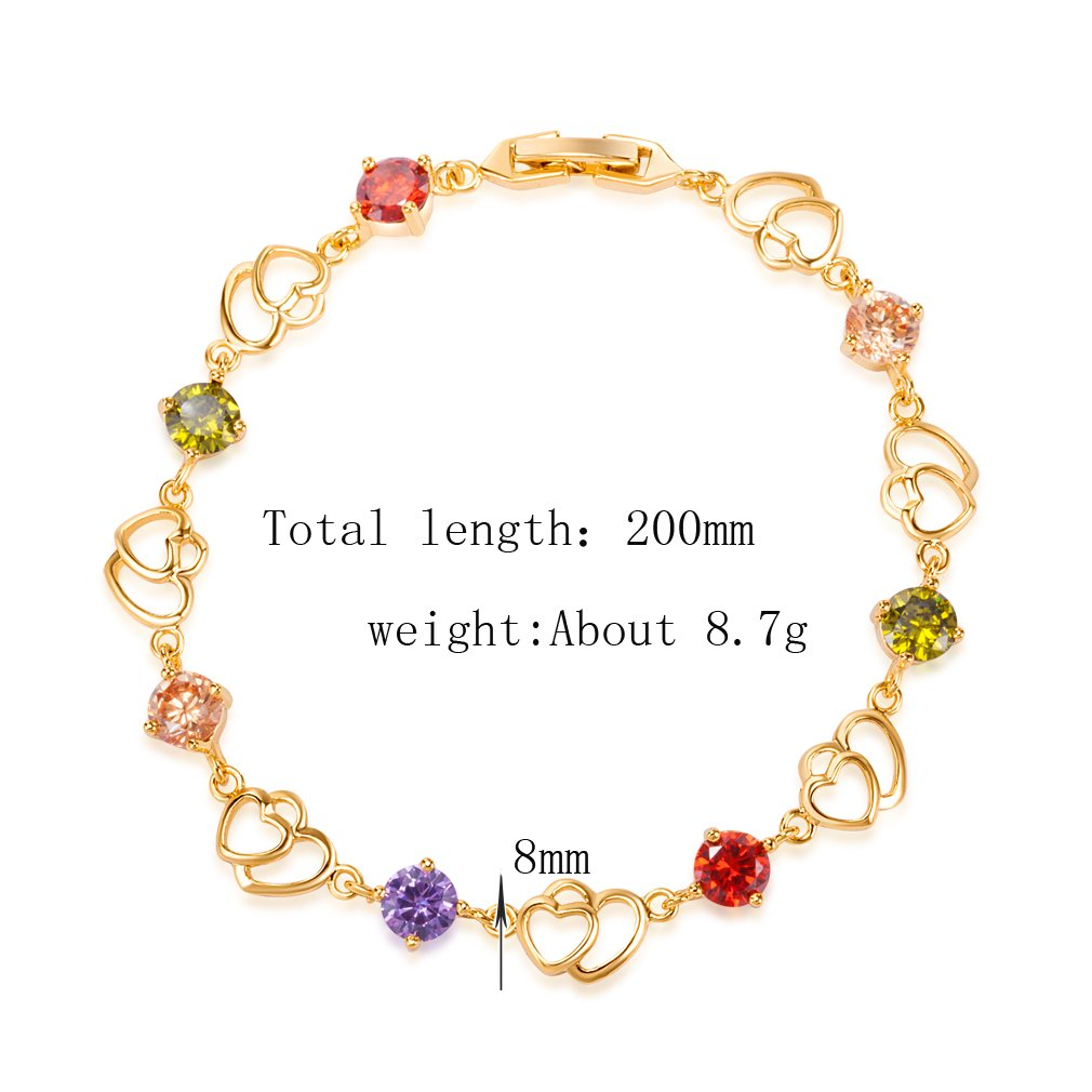 Yazilind Bracelet plaqu/é Or 2 Forme de Coeur Creux Jolie Zircon pour Femme