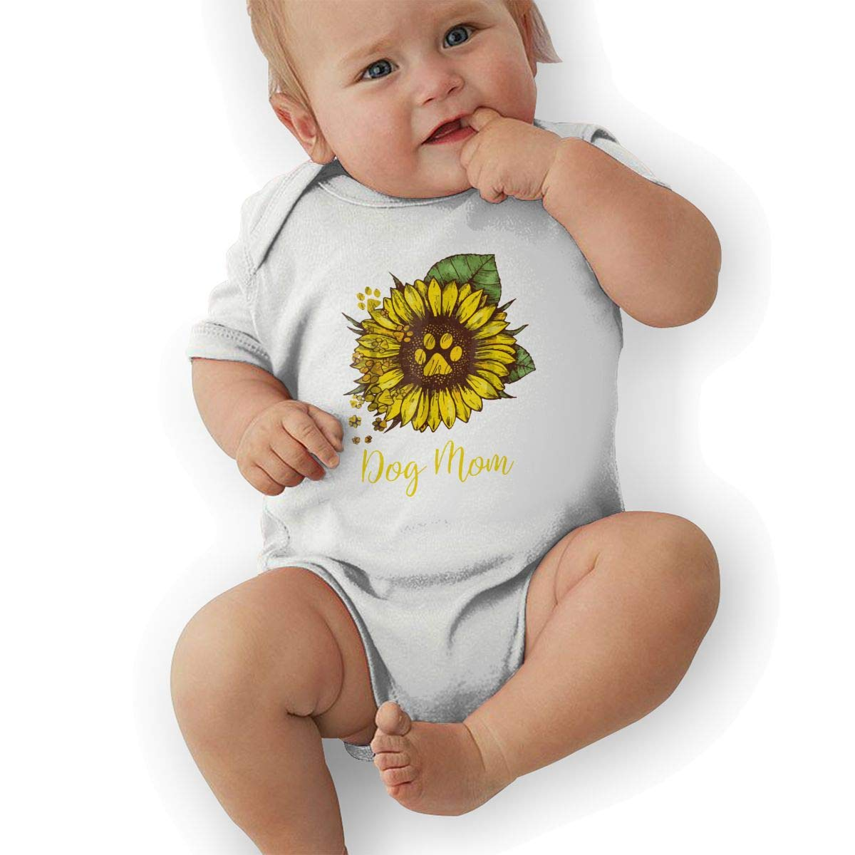 Sunflower Dog Mom Paw Baby Boys Girls Jumpsuit Overall Romper Bodysuit Summer Clothes White