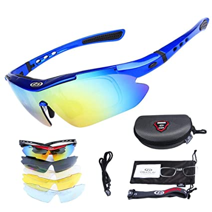 ROCKBROS Polarized Sports Sunglasses Cycling Glasses Protection Goggles 5 Lens