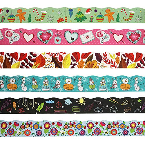 Juvale Bulletin Borders - 6-Pack Bulletin Board Borders, Seasonal Decorative Trimmers, Whimsical Border Trim for Classroom, School, 2.25 x 36 inches -