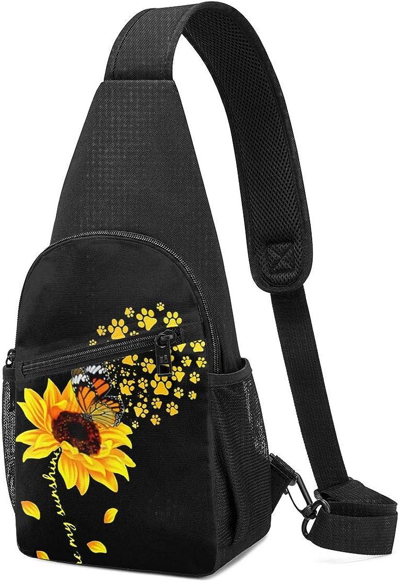 Sling Bags,Butterfly Sunflower Chest Cross Body Bag Pack Sport Travel Hiking Daypack Crossbody Shoulder Bag for Men