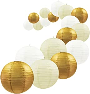 UNIQOOO 18Pcs Assorted Metallic Gold Paper Lantern Set, Easy Assembly, Durable Reusable, Hanging Decorative Japanese Paper Lanterns Lamp Cover, Wedding Birthday Party Favors, Baby Bridal Shower Decor