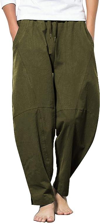 COOFANDY Mens Linen Pants Casual Elastic Waist Drawstring Yoga Beach Trousers