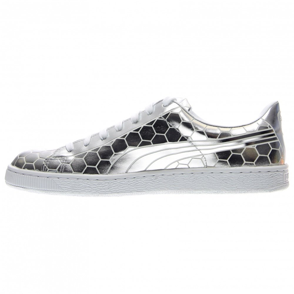 PUMA Men's Basket Classic Metallic Fashion Sneaker, Silver, 9.5 M US by PUMA (Image #4)