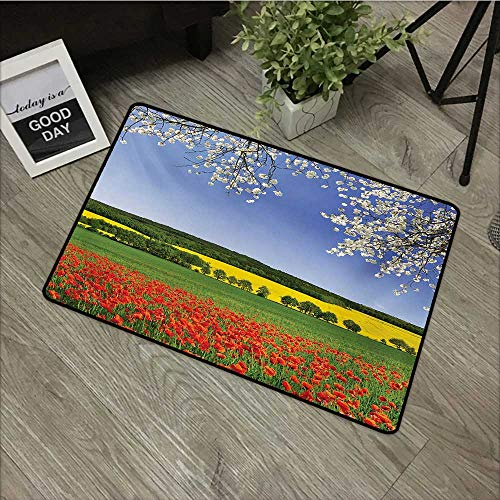 Moses Whitehead Bathroom Entry Rugs Flower,Poppy Field with a Spring Landscape and Blossom Tree View in Meadow Nature Image,Multicolor,for Indoor/Outdoor/Front Door/Shower Bathroom 35