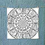gym shower towel with Signs Ecliptic Coordinate System Birth Chart of Solar Print Black White Soft Cotton Machine Washable W13.8 x W13.8 INCH