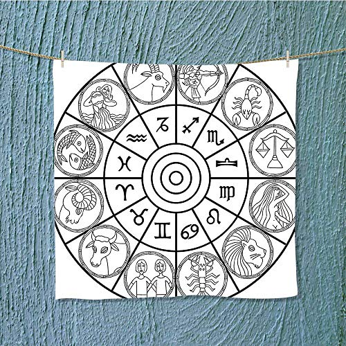 gym shower towel with Signs Ecliptic Coordinate System Birth Chart of Solar Print Black White Soft Cotton Machine Washable W13.8 x W13.8 INCH by SeptSonne
