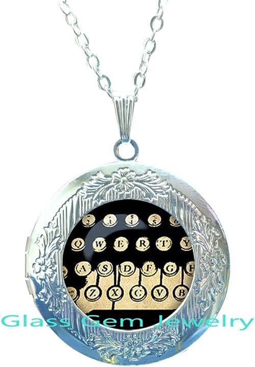 /Typewriter/Keys/Locket Necklace/-/Typewriter/Key/Jewelry/-/Old/School/Writing/-/Gift/for/Writer/-/Administrative/Assistant/-/Secretary.XY48