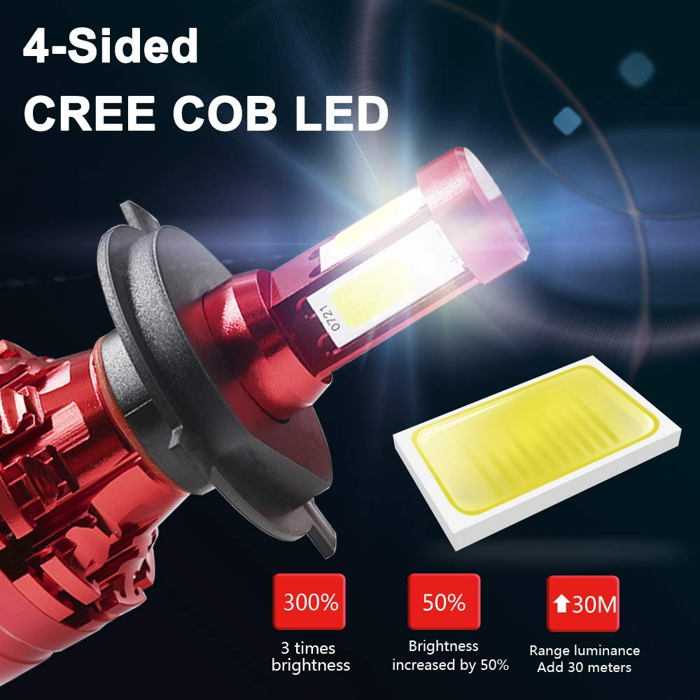 H4//9003//HB2 4-Sided LED Headlight Bulbs All-in-One Conversion Kit 6000K Cool White 80W 12000LM Dual Hi//Lo Beam Extremely Bright