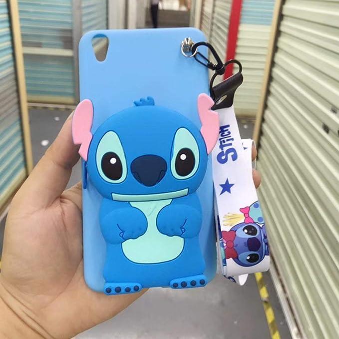 KKAAVV Cute Stitch Bear 3D Cartoon Zipper Wallet Funda Suave para teléfono para iPhone X XR XS 11 Pro MAX 7 8 6S Plus para Samsung S8 S9 S10 Note, A, para