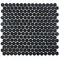 Vogue Tile Matte Black Penny Round Porcelain Mosaic (Box of 10 Sqft), Floor and Wall Tile, Backsplash Tile, Bathroom Tile on 12x12 Mesh for Easy Installation