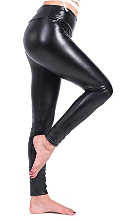 3b67cbd25cf18 Ecupper Women Black Faux Leather Leggings Thick Warm Fleece Lined High  Waisted Stretch Trousers: Amazon.co.uk: Clothing