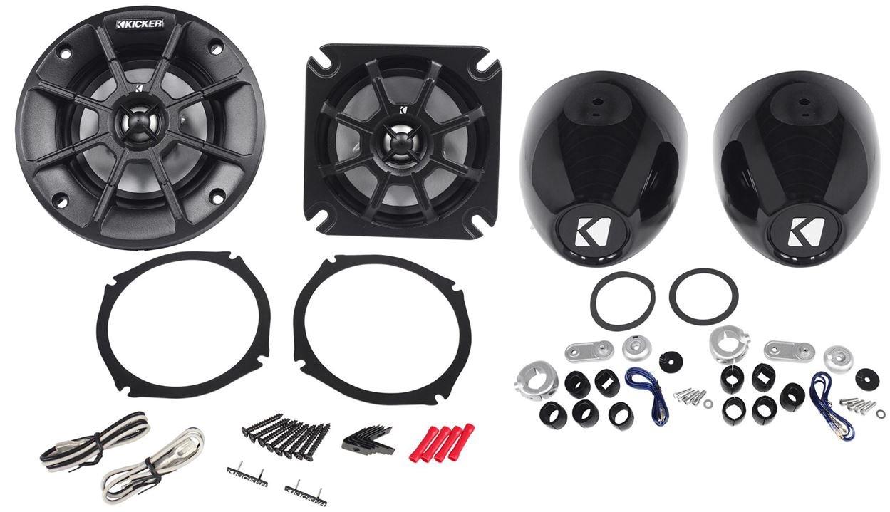 Kicker PS4 (40PS44) 4'' Motorcycle/ATV Speakers 4 Ohm+KMMTES Handlebar Enclosures