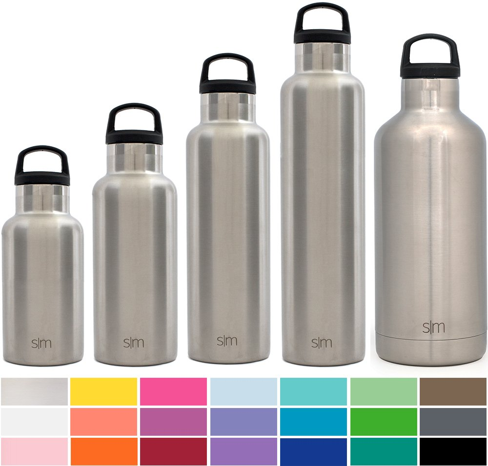 Simple Modern 17oz Ascent Water Bottle - Stainless Steel Hydro Kids Flask w/Handle Lid - Double Wall Vacuum Insulated silver Reusable Tumbler Small Metal Coffee Leakproof Thermos - Simple Stainless