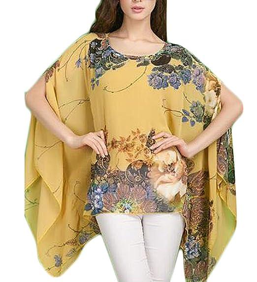 Mujer Camisas Chiffon Vintage Moda Floreadas Camisas Mujer Elegantes Basic Ropa Irregular Anchas Mangas De Murciélago Cuello Redondo Ocasional Chic Camisas ...