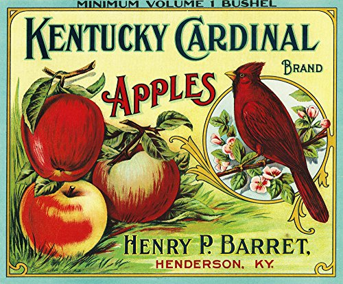 Henderson, Kentucky - Kentucky Cardinal Brand Apple - Vintage Label (9x12 Art Print, Wall Decor Travel Poster)