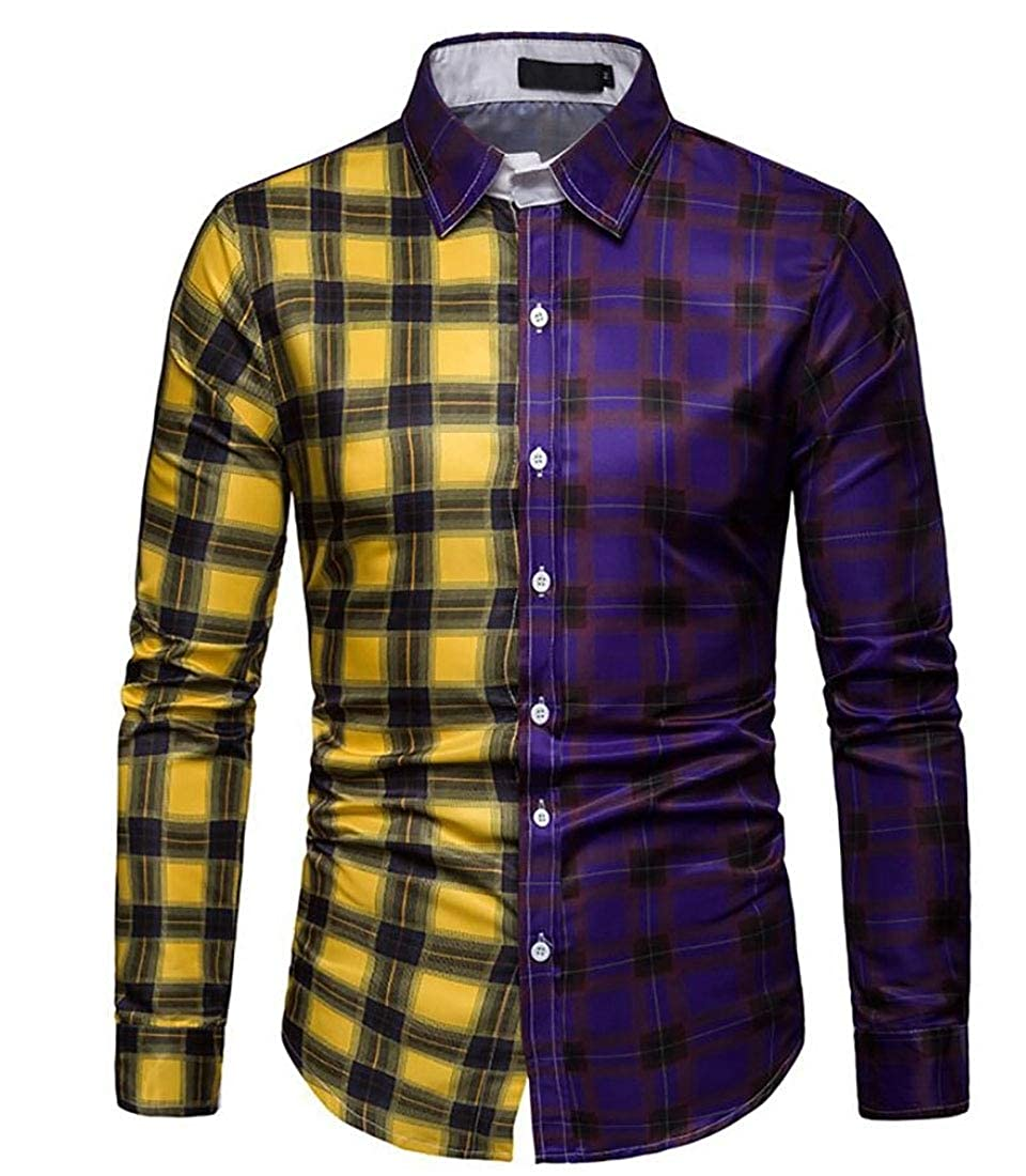 Alion Mens Tops Loose Cotton Slim Fit Long Sleeve Button Down Plaid Dress Shirt
