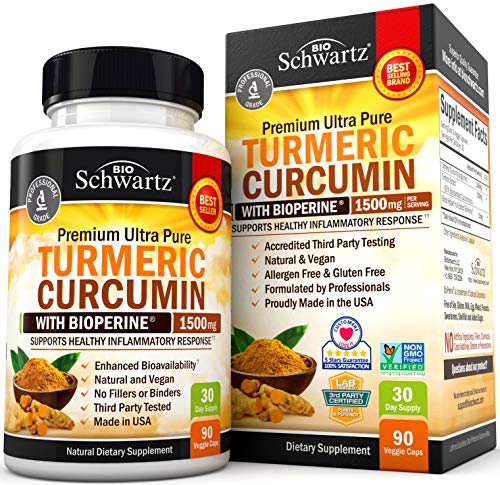 Turmeric Curcumin with BioPerine 1500mg. Highest Potency Available. Premium Joint & Healthy Inflammatory Support with 95% Standardized Curcuminoids. Non-GMO, Gluten Free Capsules with Black Pepper from BioSchwartz