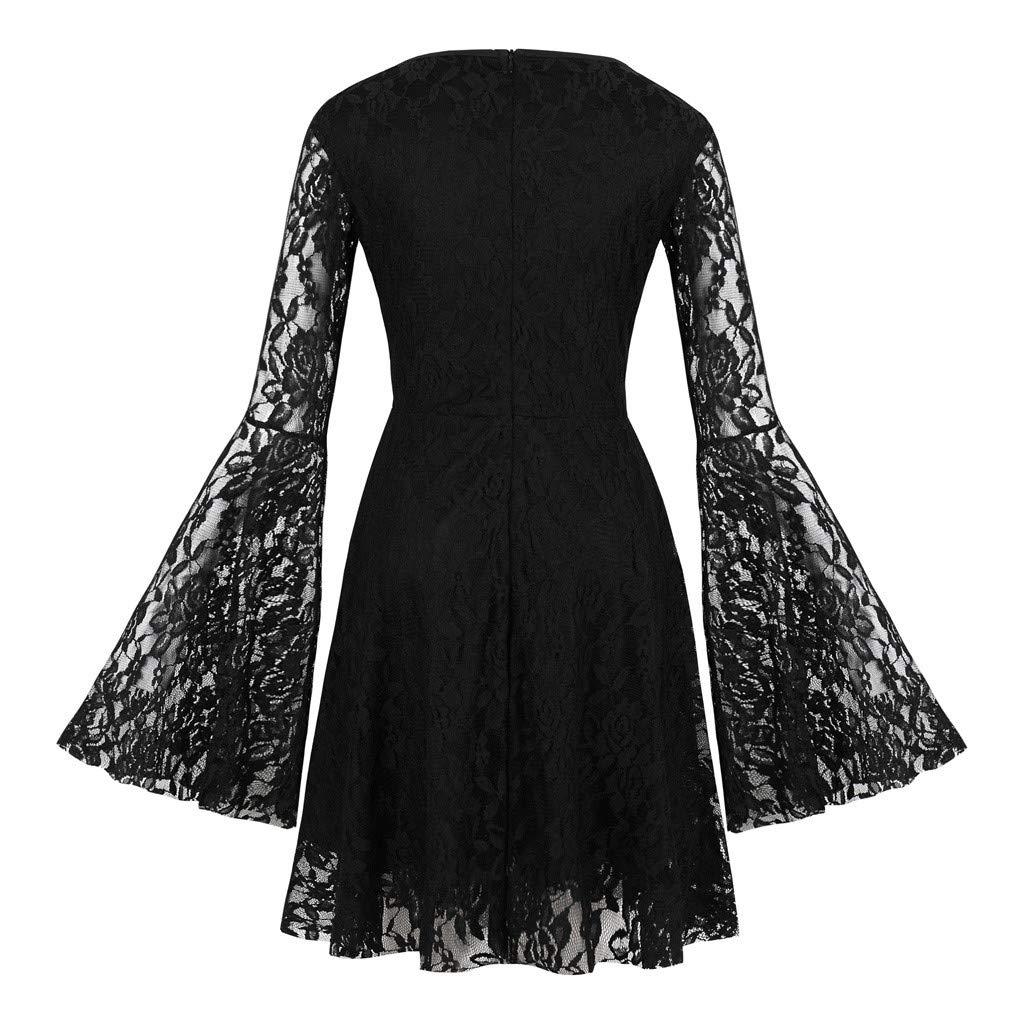 Women Mini Pageant Dress | Ladies Elegant Floral Lace Flare Long Sleeve Swing Dresses | Bridesmaid A Line Dress