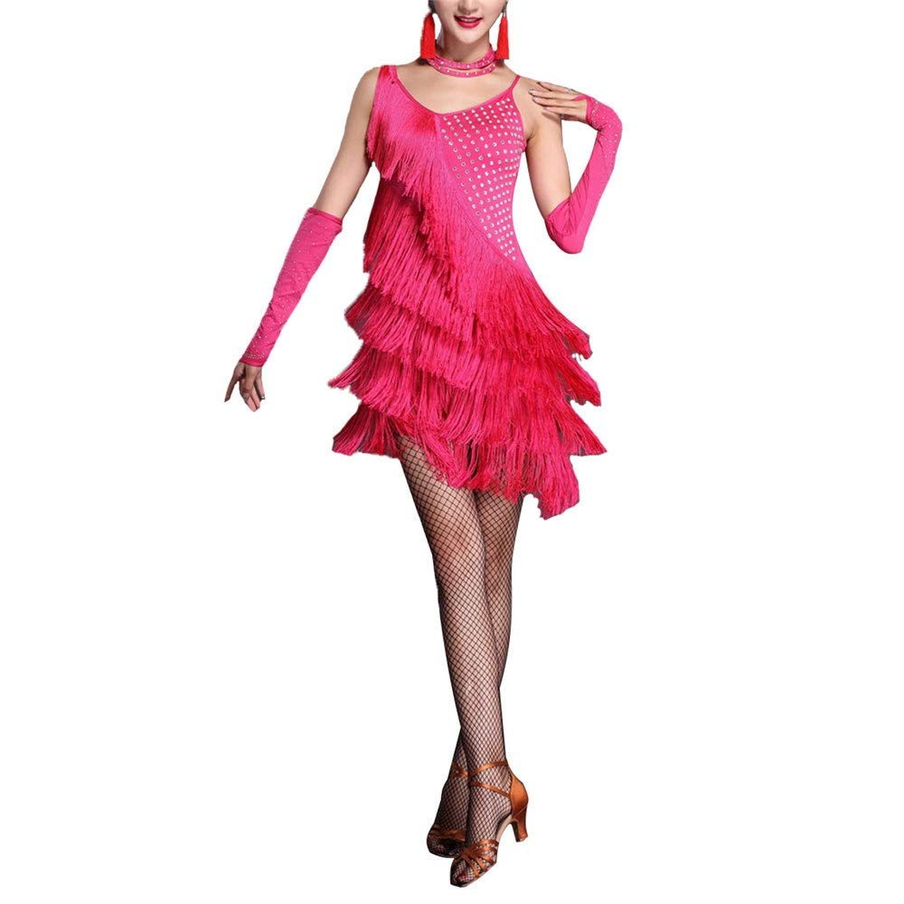 Rose Rouge Robe de Femme Femmes sans Manches Gland Robe De Danse Latine Outfit Strass Frange Flapper Robe Sway Danse Robe De Cocktail Lady Salle De Bal Perforhommece Costume De Danse Robe de Danse X-Large
