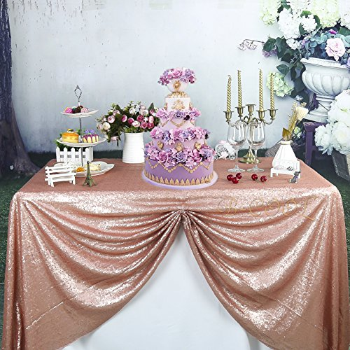 """B-COOL 50""""X80"""" Blush rectangle sequin tablecloth wholesale a"""