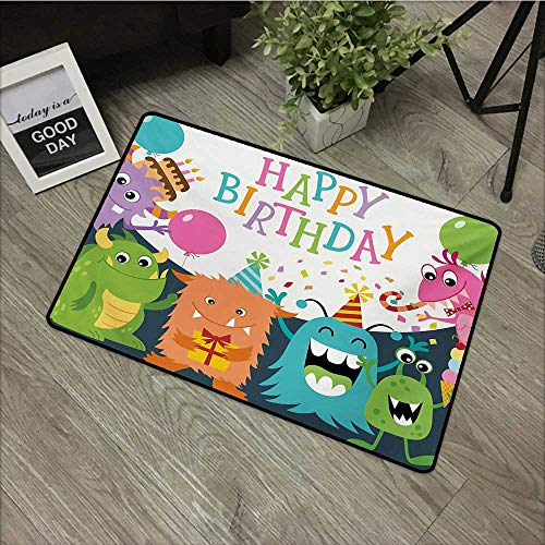 Pool Anti-Slip Door mat W35 x L47 INCH Kids Birthday,Little Baby Monsters with The Party Cones Confetti Rain and Balloons Image,Multicolor Non-Slip Door Mat Carpet