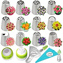 Russian Piping Tips 27pcs Cake Decorating Supplies Flower Shaped Frosting Nozzles Kit Baking Supplies Set Frosting Cake piping Decorating Tips Set 14 Icing Nozzles 2 Couplers 10 Pastry Baking Bags