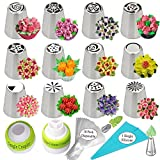 Russian Piping Tips Cake Decorating Supplies Flower Frosting tips Set 12 Icing Nozzles 1 Single Coupler 1 Tri Color Coupler 2 Leaf Tips 1 Silicone Bag 10 Pastry Baking Bags in a Gift Box + Ebook Guide
