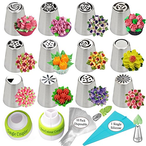 Cake Decorating Flower (Russian Piping Tips 26pcs Icing Piping tips Cake Decorating Supplies- Baking Supplies Set Flower Frosting Tips 14 Icing Nozzles 2 Couplers 10 Pastry Baking Bags Cupcake Decorating Kit + GIFT BOX!)