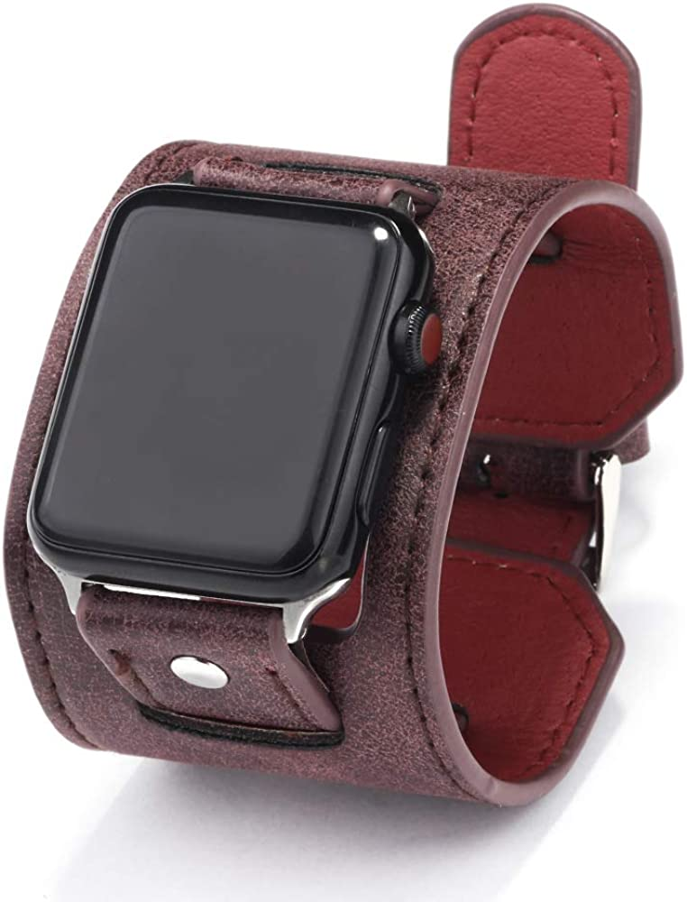 NIGHTCRUZ Compatible with Leather Apple Watch Band - Wide Leather Adjustable Bracelet for Apple Watch Series 5/4/3 (Purple, 38mm/40mm)