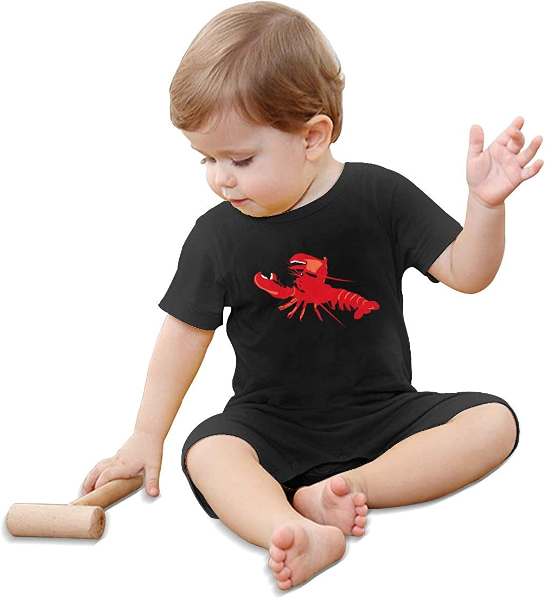 KBIZO-zxl Baby Short Sleeve Bodysuit Lobster Baby Boys Girls Onesie Clothes Black