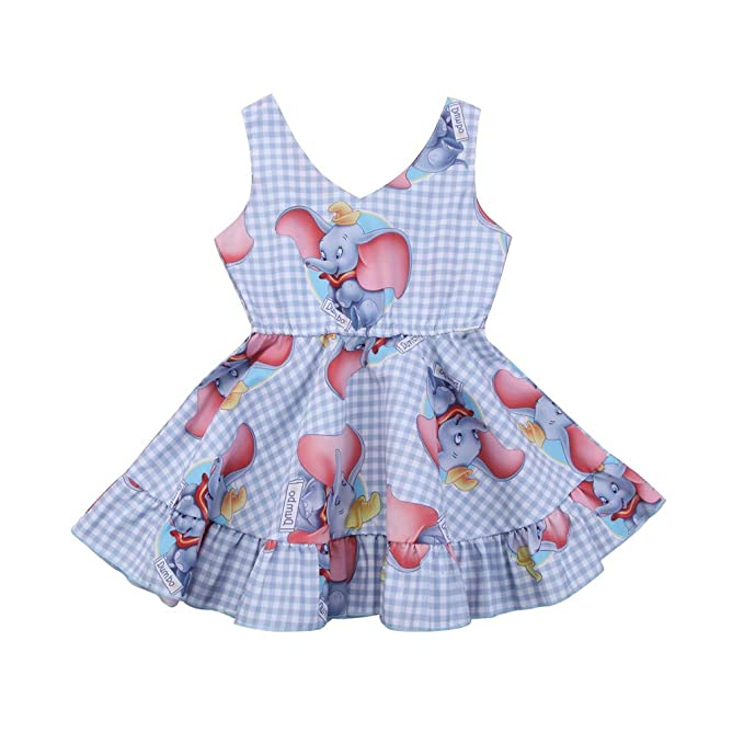 02425ca933b Amazon.com  Kids Baby Girls Dresses Princess Animal Dumbo Sleeveless ...