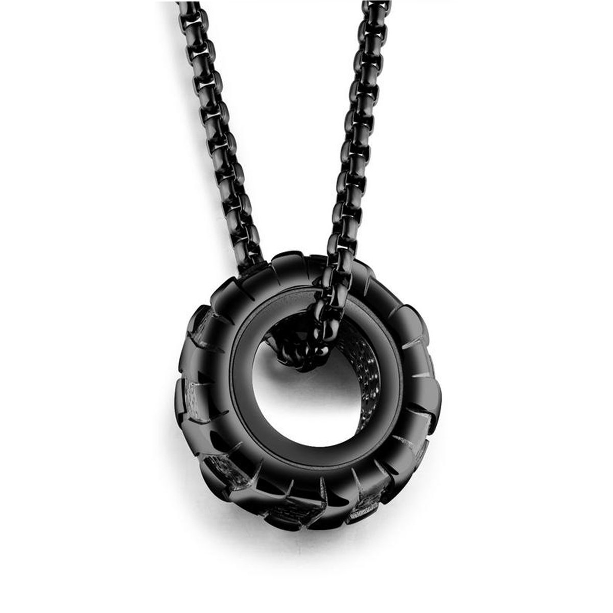 Men Fashion Titanium Steel Necklace Racer Car Tires Shaped Pendant with Square Pearl Chain,Black