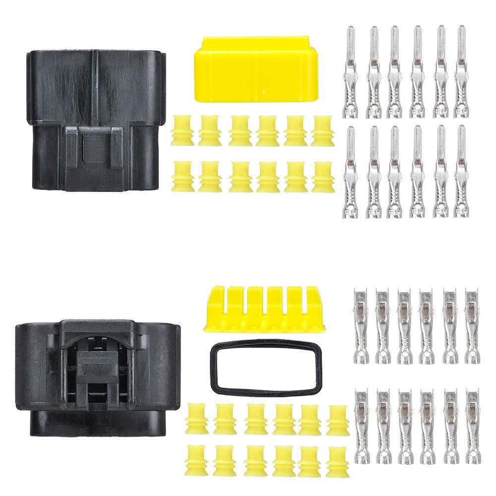 MUYI 5 sets Wire Cable Connector Plug Insert in 12-pins 1.8mm Series Waterproof Electrical kits Car HID with Terminal DJ71216Y-1.8-21/11 (12 Pins)