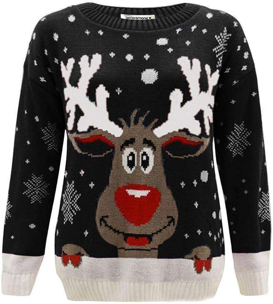 janisramone Kids Girls Boys New Reindeer Print Long Sleeve Christmas Jumper Childrens Retro Winter Sweater