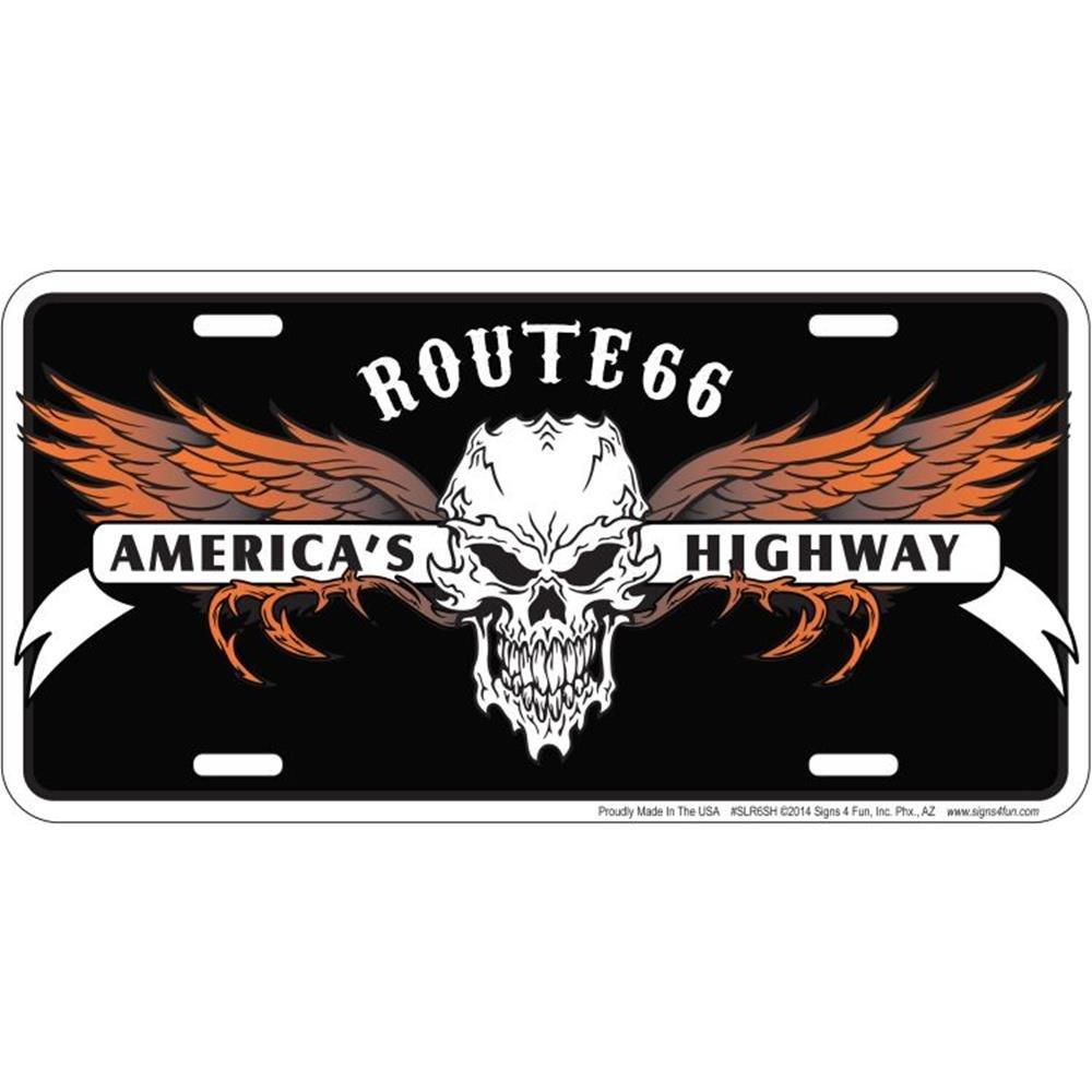Signs 4 Fun SLR6SH 66 Skull Hwy License Plate