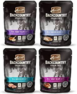 Merrick Backcountry Grain Free Protein-Rich Cat Food 4 Flavor Variety 8 Pouch Bundle: (2) Real Rabbit, (2) Real Chicken, (2) Real Duck, and (2) Real Turkey, 3 Oz. Ea. (8 Total)