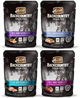 product image for Merrick Backcountry Grain Free Protein-Rich Cat Food 4 Flavor Variety 8 Pouch Bundle: (2) Real Rabbit, (2) Real Chicken, (2) Real Duck, and (2) Real Turkey, 3 Oz. Ea. (8 Total)