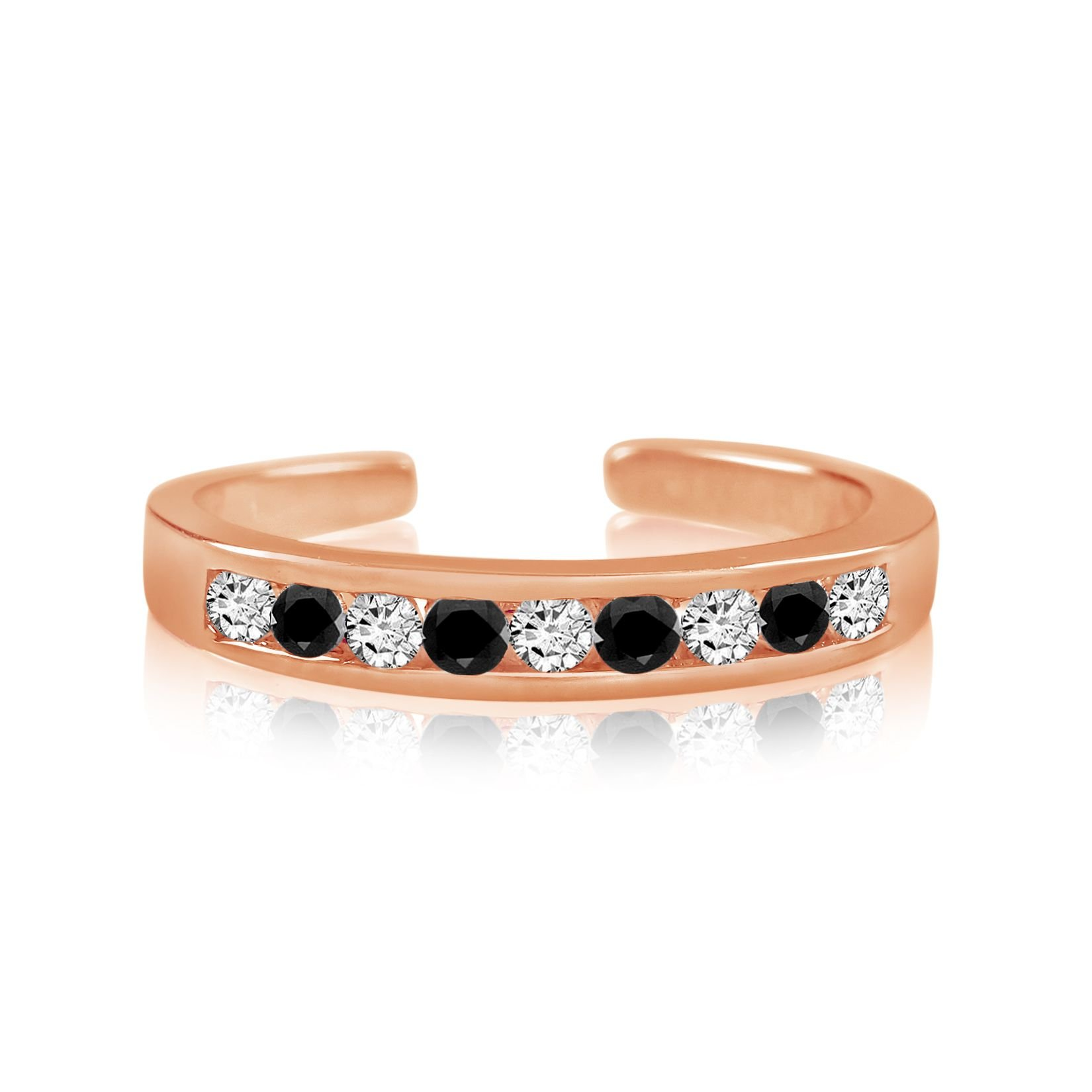 Sterling Silver Toe Rings Round Cut Cubic Zirconia White and Black Channel Set Rose Gold Plated