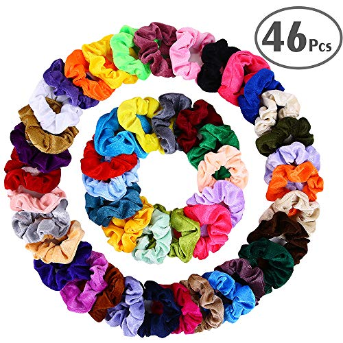 Hair Scrunchies Velvet Elastic Hair Bands Scrunchy Hair Ties Ropes Scrunchie for Women or Girls Hair Accessories - 46 Assorted Colors Scrunchies