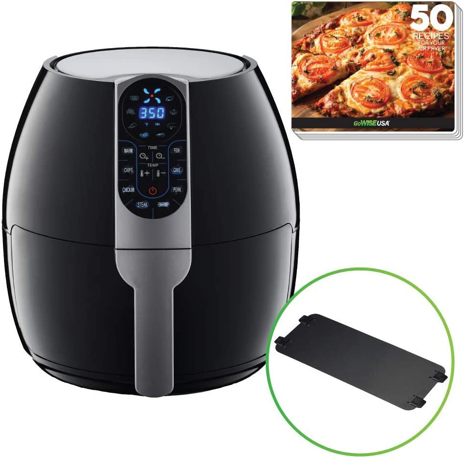 GoWISE USA GW22958 5-Quart Air Fryer with 8 Cook Presets + Recipe Book, Black, 5.0-Qt
