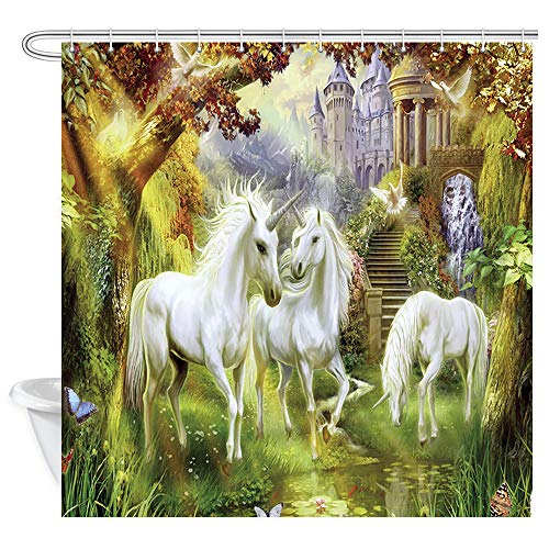 JAWO Psychedelic Unicorn Shower Curtain, Fantasy Unicorn and Castle in Forest Shower Curtain for Bathroom Decor Polyester Fabric Bathtub Curtain with Hooks Waterproof 69x70inches