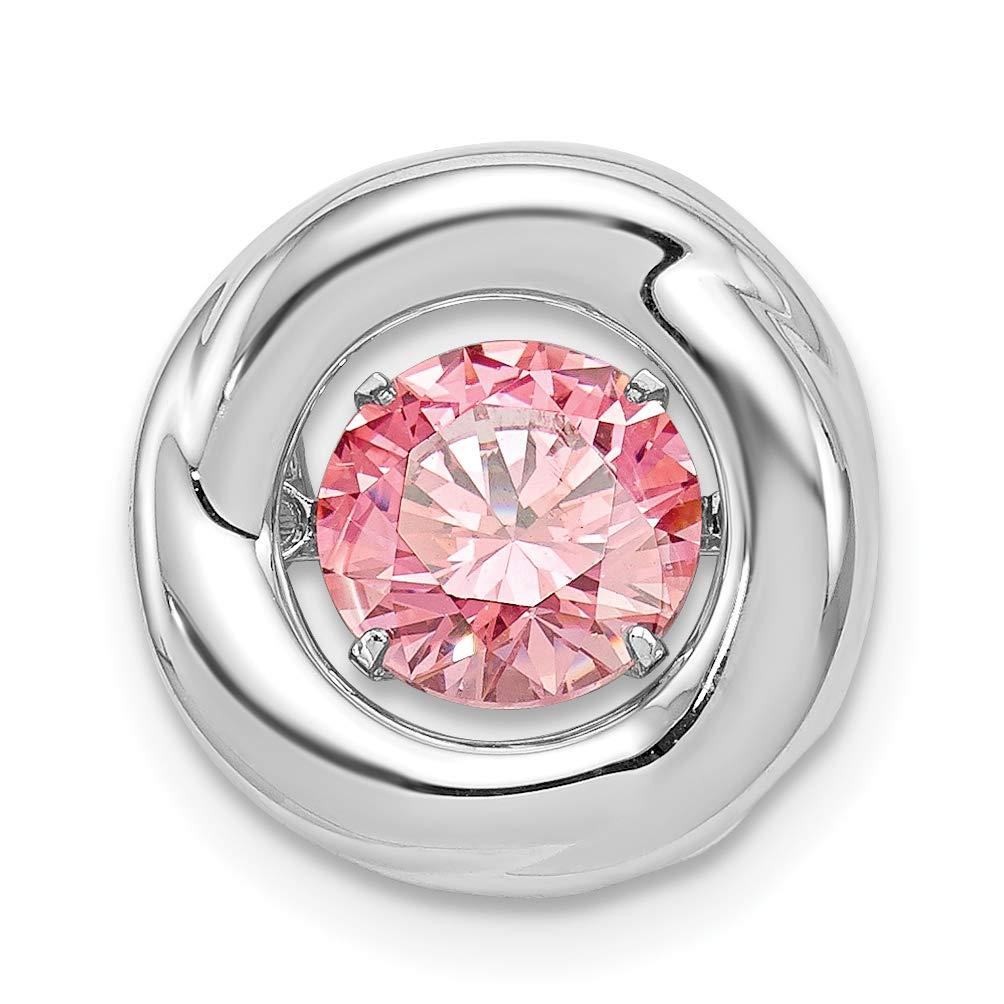 Mireval Sterling Silver Anti-Tarnish Treated Polished Vibrant Pink CZ Circle Pendant