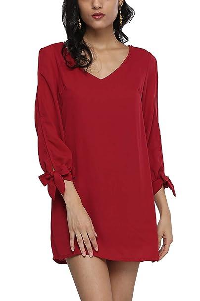 b3ea8d43a66 JunJunBag Women's Casual Cold Shoulder Solid Color Long Sleeves Beach Shift  Dress (Burgundy, Small