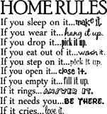 Home Rules if you sleep on it...make it if you wear it...hang it up if you drop it...pick it up if you eat out of it...wash it if you step on it...pick it up if you open it...close it if you empty it...fill it up if it rings...answer it if it needs you...be there if it cries...love it vinyl wall quotes decals sayings art lettering