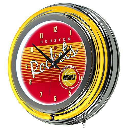 NBA Houston Rockets Ring Neon Clock, One Size, Chrome by Trademark Global
