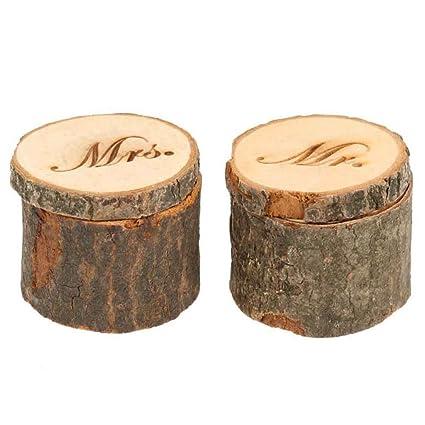 Amazon Com Chuangli 2pcs Wedding Ring Box Rustic Wooden Wedding