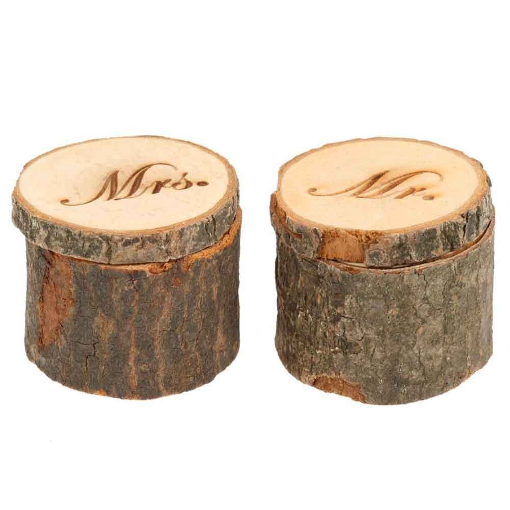CHUANGLI 2pcs Wedding Ring Box Rustic Wooden Wedding Ring Case Weddings Accessories Mr Mrs Jewelry Boxes