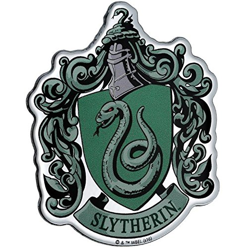 Fan Emblems Slytherin Crest Car Decal Domed/Multicolor/Chrome Finish, Harry Potter Automotive Emblem Sticker Easily Applies to Cars, Trucks, Motorcycles, Laptops, Cellphones, Windows, Almost ()