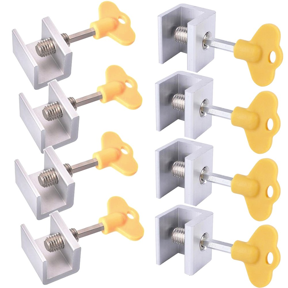 8 Sets Sliding Window Locks - Adjustable Aluminum Alloy Security Locks with Keys for Window,Door Frame